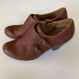 BOC Born Brown Leather Monkstrap Booties